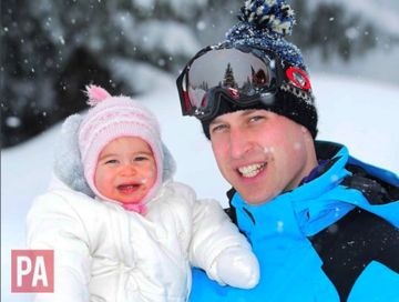 Princess Charlotte and dad Prince William in French Alps snow ski vacation.