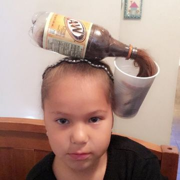 Root Beer Bottle Spilling Into Cup As Wacky Hair Day Idea For Kids