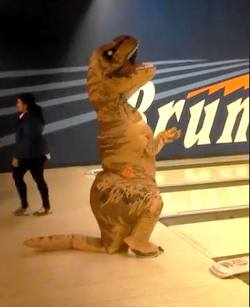 DinoDad in bowling alley