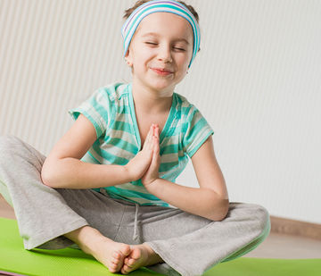 happy young girl meditating