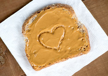 peanut butter toast with heart