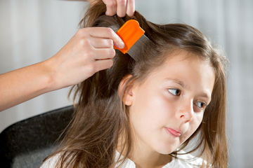 girl being treated for lice