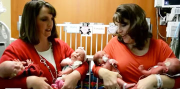 twin sisters with twin babies