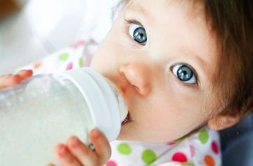 Baby with BPA Free Bottle