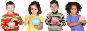 Four Funny Kids wtih Money Boxes