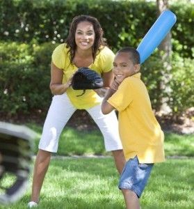 Mother Son Playing Baseball