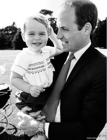 Prince William and Prince George BW