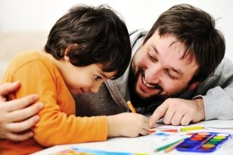 dad coloring with son