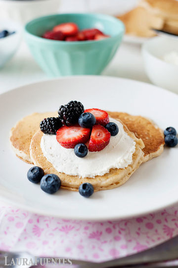 fresh berries, cream cheese, and fluffy pancakes make this a delicious breakfast option!