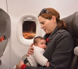 Mom and Baby on an Airplane