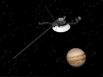 Voyager spacecraft near Jupiter