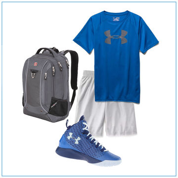 Basketball shorts with sneakers and a t-shirt