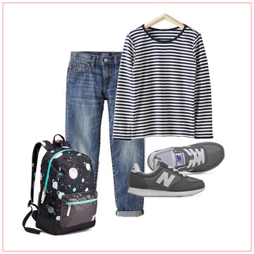 Cropped jeans, a striped t-shirt, and New Balance sneakers