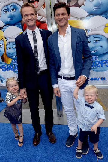 Neil Patrick Harris and family on Smurfs blue carpet
