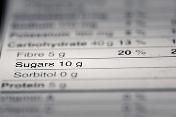 nutrition facts label focused on sugar