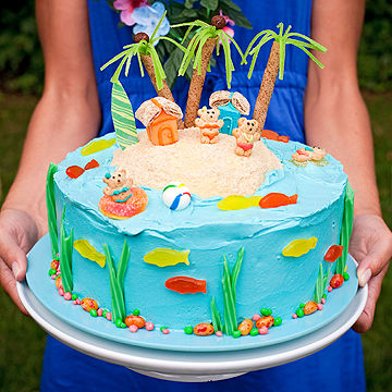 Luau Theme Birthday Cake