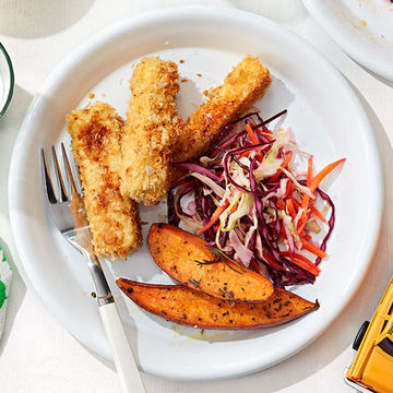 Tofu Tenders with Potato Wedges and Slaw recipe image