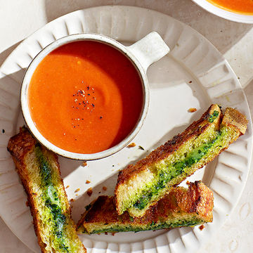 Tomato Soup & Pesto Grilled Cheese Fingers