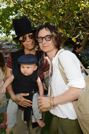 sarah gilbert and linda perry with baby