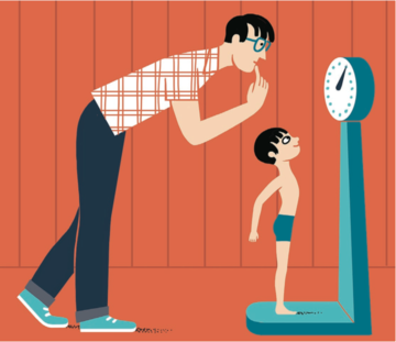 father weighing son
