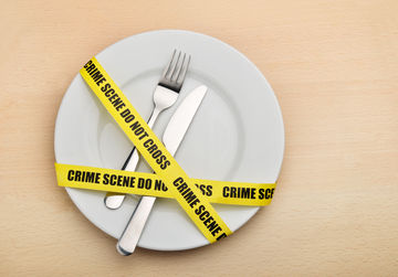 Plate and silverware with crime scene tape