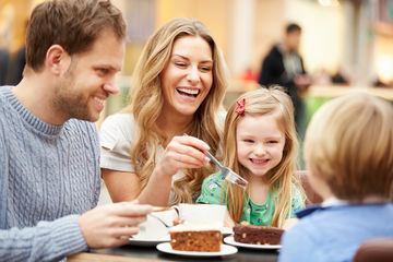 family eating cake together
