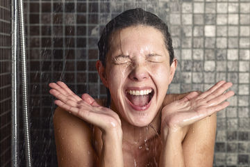 10 Phases Taking Shower Woman Grinning Hands Up