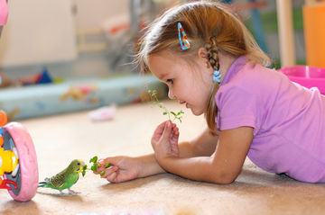 girl with parakeet