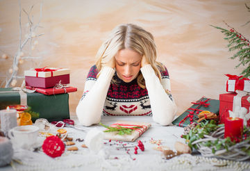 Woman stressed about Christmas