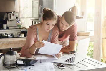 Young couple worried about finances
