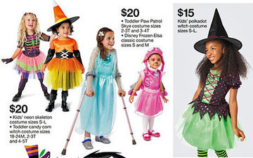 target halloween ad model with arm braces