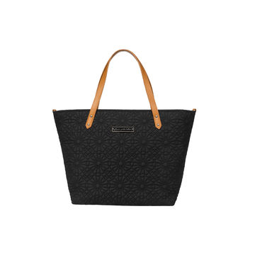Embossed black diaper bag tote