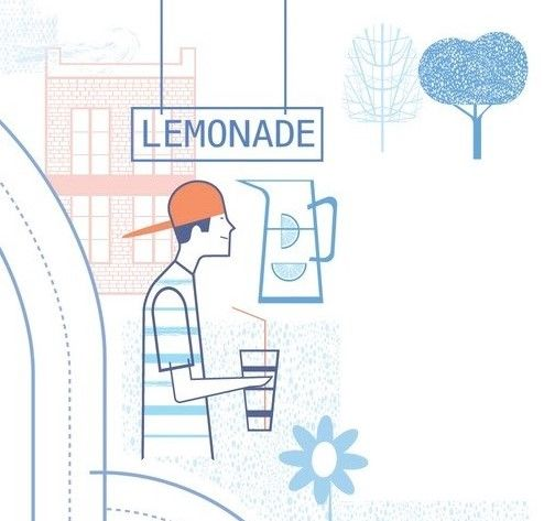 Guy In Hat At Lemonade Stand Illustration