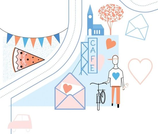 Guy On Bike At Cafe With Love Letter Envelope Illustration