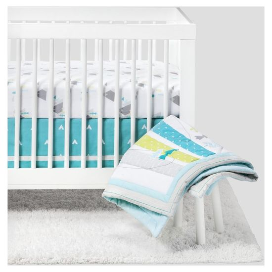 Cloud Island Nursery Collection White Crib Blue Stripe Sheets