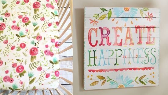 Florals Rose Crib Mattress Cover And Create Happiness Sign