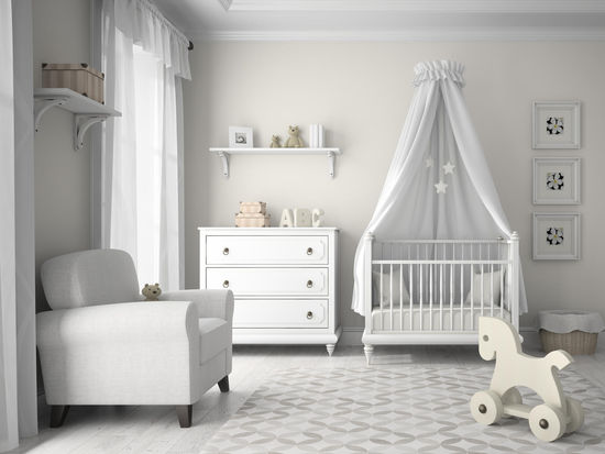 White Nursery Room with Rocking Horse