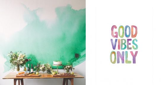 Watercolors Green Wallpaper and Good Vibes Only Poster