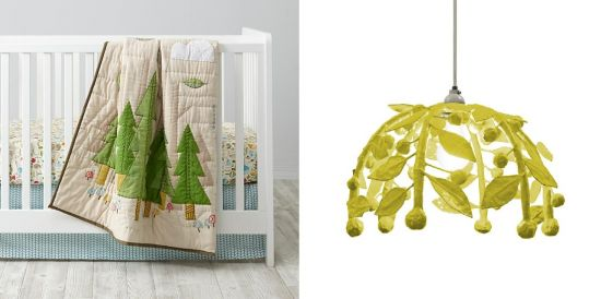 Woodland Tree Blanket and Leaves Chandelier