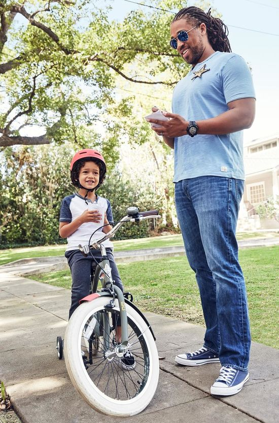 Father and Son Riding Bike