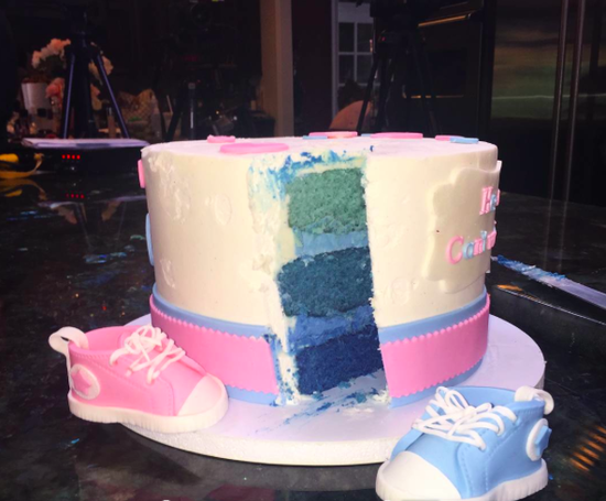 JWoww gender reveal cake cut open