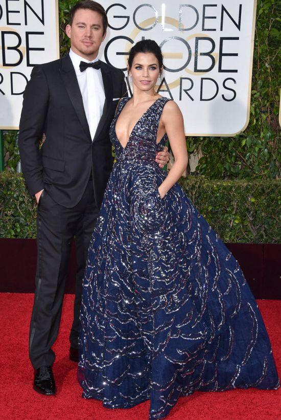 Channing Tatum and Jenna Dewan-Tatum at Golden Globes 2015