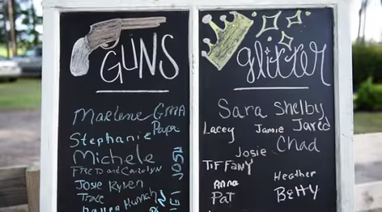 guns or glitter chalkboard