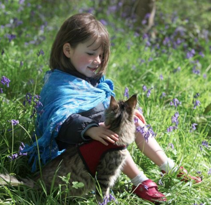 Iris and Thula with Bluebells