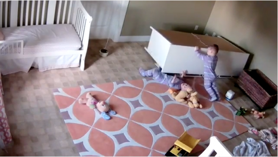 twin saving brother from fallen dresser