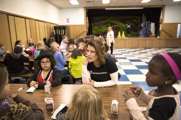 Students Talking with Actress Cobie Smulders