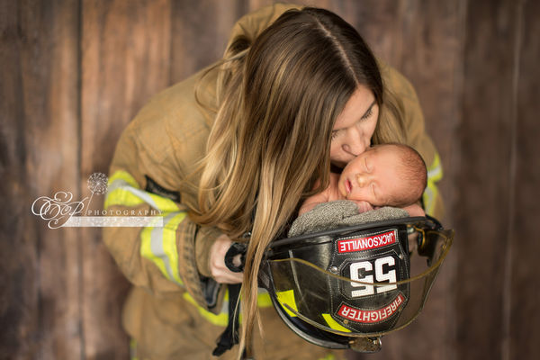baby with firefighter mom