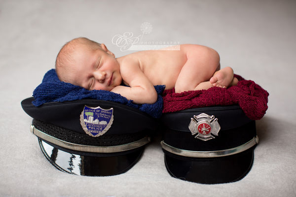 newborn photos with firefighter and police parents