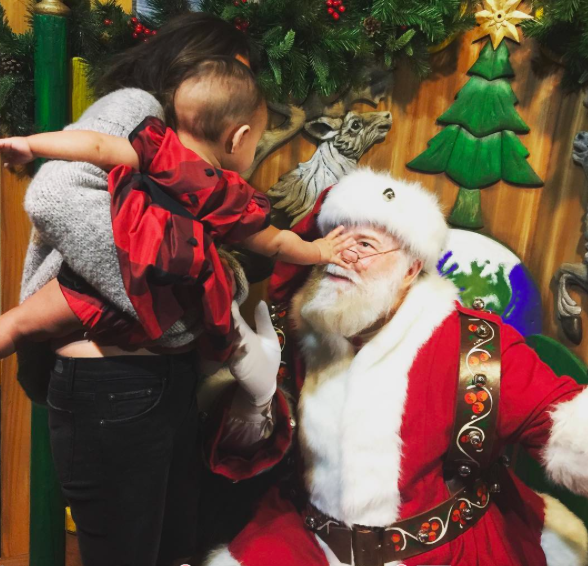 baby luna with mom and santa
