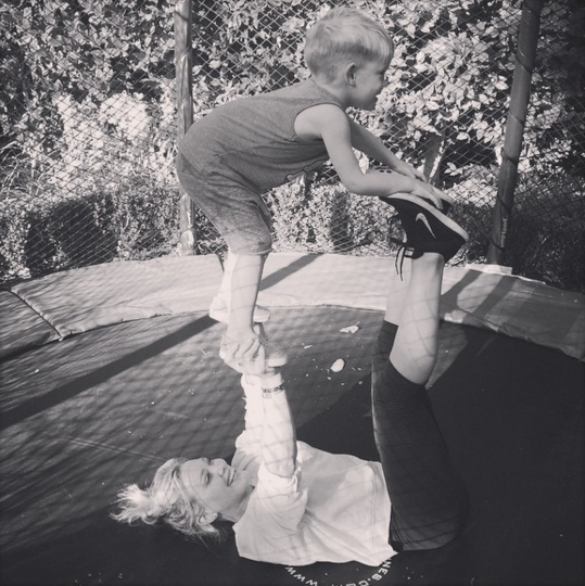Hilary Duff exercise with Luca